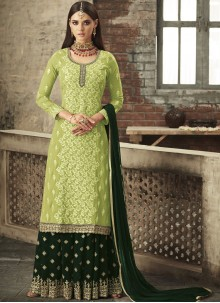 Green Festival Faux Georgette Palazzo Salwar Suit