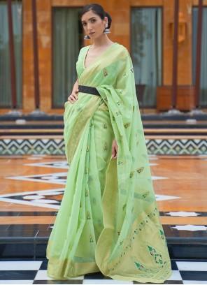 Green Festival Linen Classic Saree