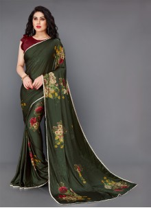 Green Festival Lycra Contemporary Saree