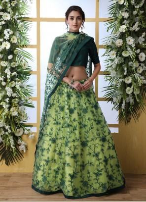 Green Festival Net Designer Lehenga Choli