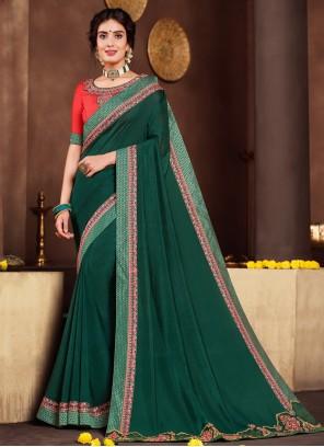 Green Festival Poly Silk Designer Traditional Saree
