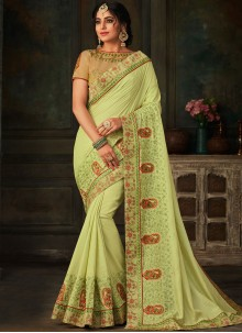 Green Festival Poly Silk Traditional Saree