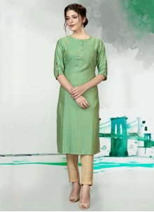 Green Festival Polyester Designer Kurti