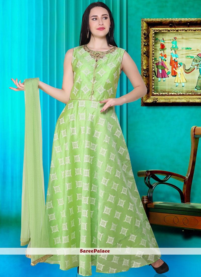 b6563993461615 Buy Green Festival Readymade Designer Gown Online