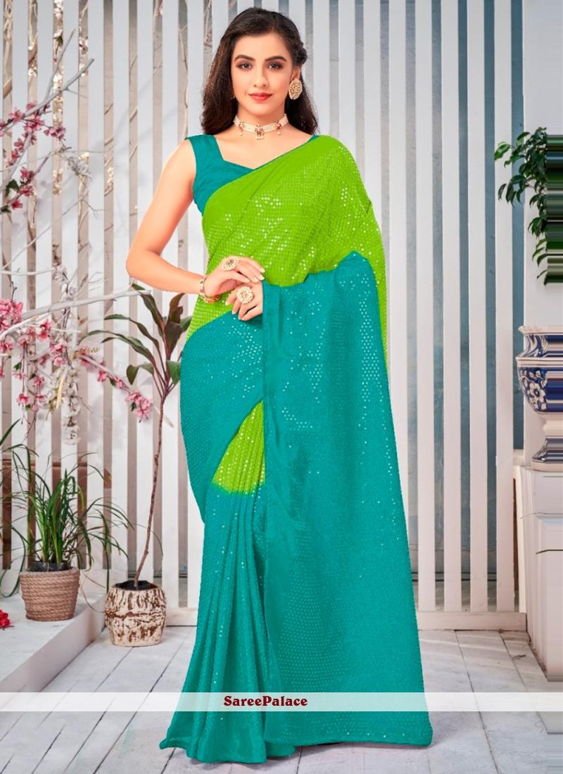 Green Festival Shaded Saree