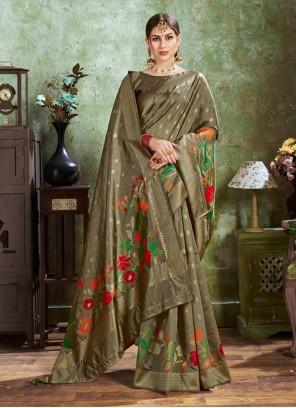 Green Festival Silk Contemporary Saree