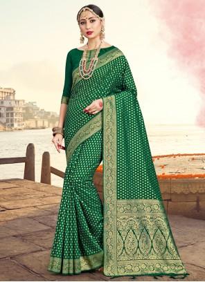 Green Festival Traditional Saree