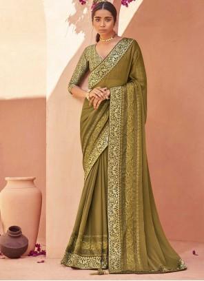 Green Faux Chiffon Trendy Saree