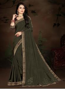 Green Festival Vichitra Silk Designer Traditional Saree