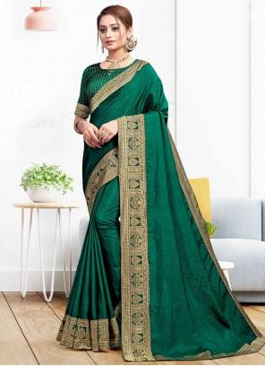 Green Festival Vichitra Silk Traditional Saree