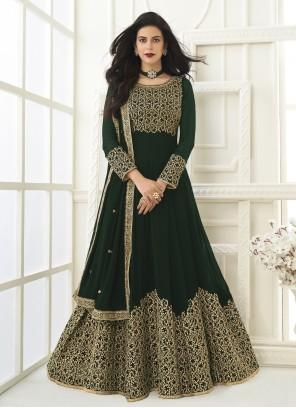 Green Floor Length Anarkali Suit