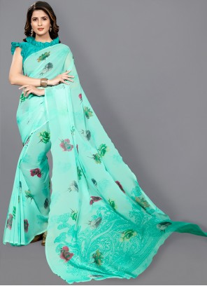 Green Floral Print Faux Georgette Classic Saree