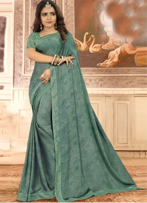 Green Floral Print Georgette Traditional Saree