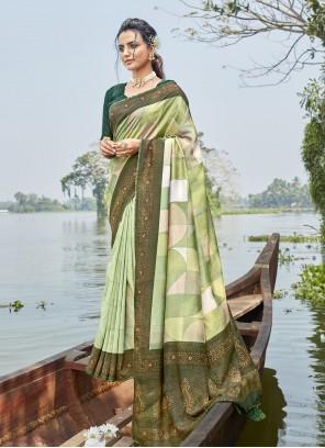 Green Foil Print Chanderi Printed Saree