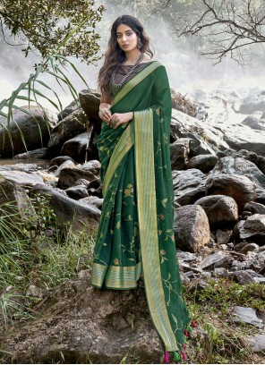 Green Foil Print Traditional Saree