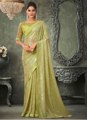 Green Georgette Sequins Classic Saree