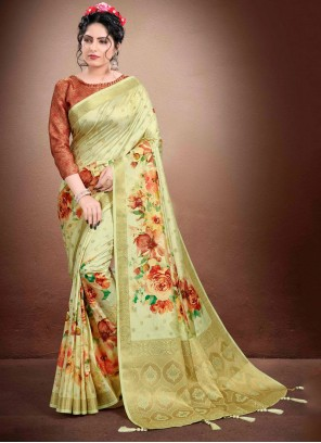 Green Georgette Digital Print Classic Designer Saree