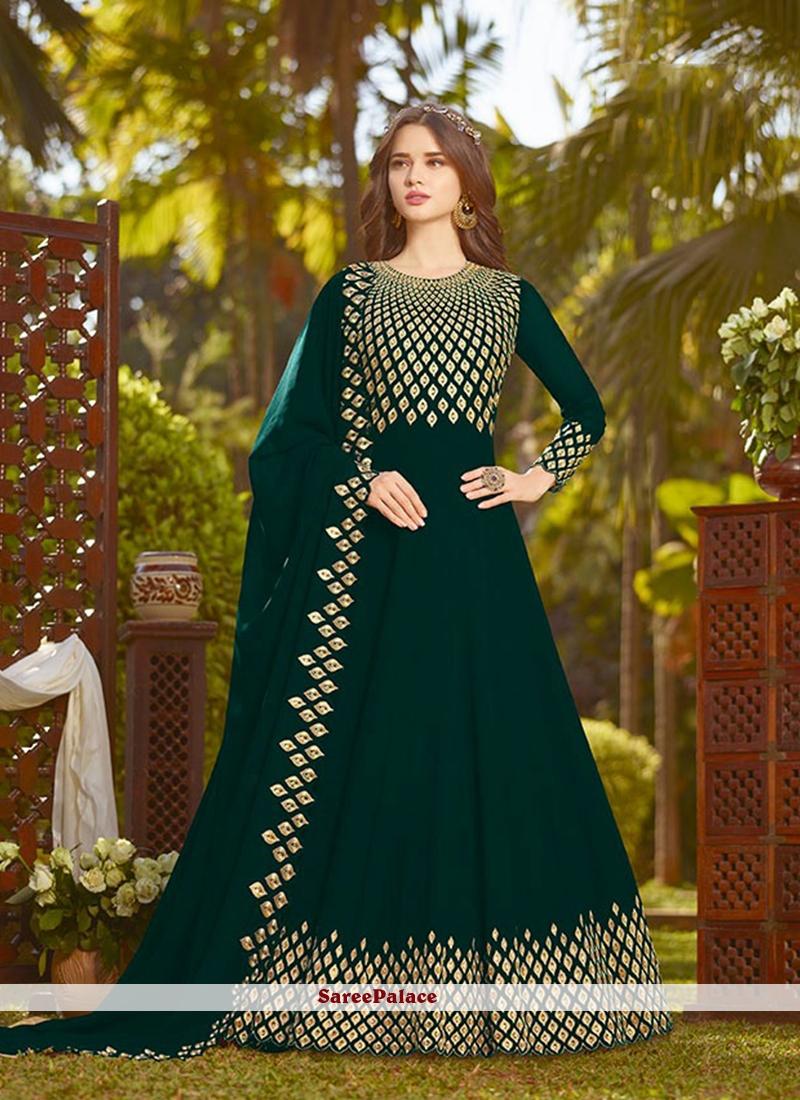 Green Georgette Embroidered Anarkali Suit