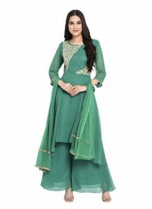 Green Georgette Embroidered Readymade Salwar Kameez