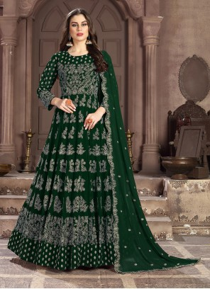 Green Georgette Mehndi Anarkali Salwar Suit
