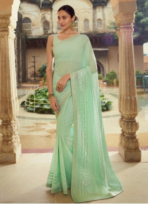 Green Georgette Mirror Classic Saree