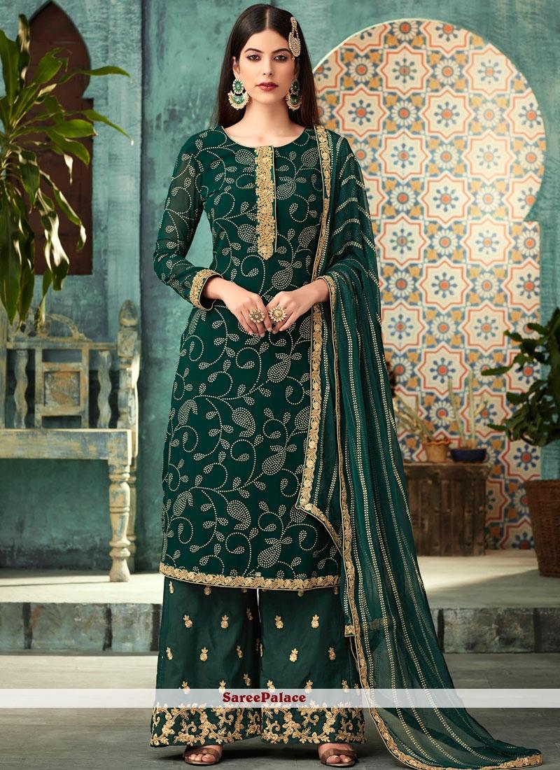 Green Georgette Palazzo Designer Suit