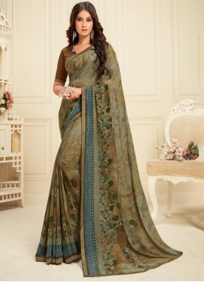 Green Georgette Party Classic Saree