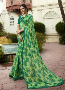 Green Georgette Printed Traditional Saree