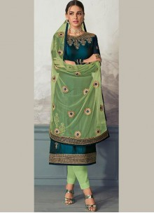 Green Georgette Satin Ceremonial Pant Style Suit