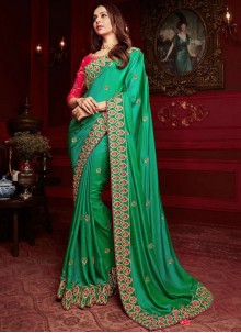 Green Georgette Satin Classic Designer Saree