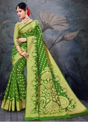Olive Green Handloom Cotton Bollywood Saree