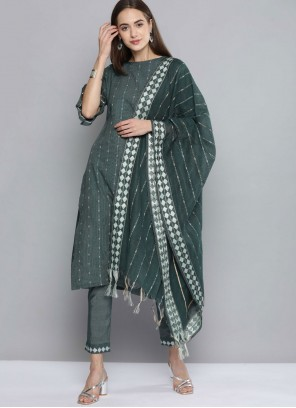 Green Handloom Cotton Pant Style Suit