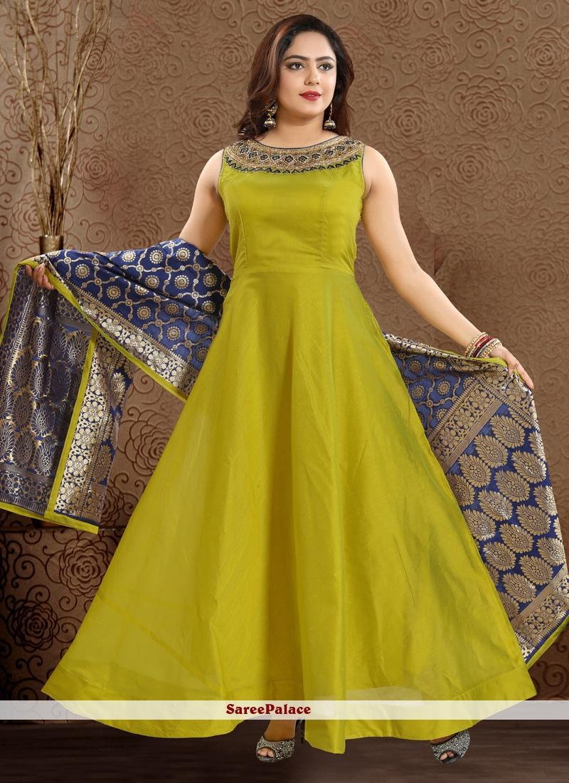 Green Handwork Chanderi Readymade Anarkali Suit