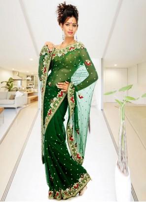Green Handwork Classic Designer Saree