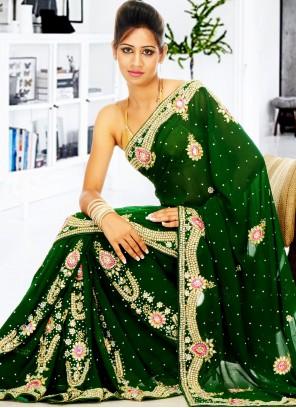 Green Handwork Designer Saree