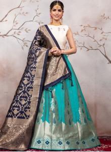 Green Jacquard Designer Lehenga Choli