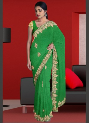 Green Jacquard Designer Traditional Saree