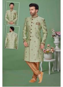 Green Jacquard Sherwani