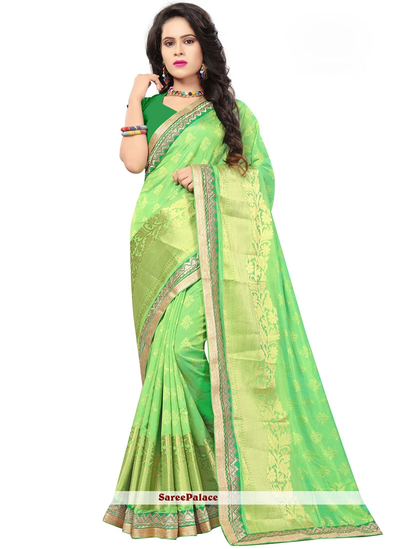 Green Jacquard Silk Ceremonial Classic Saree