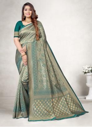 Green Jacquard Silk Party Classic Saree