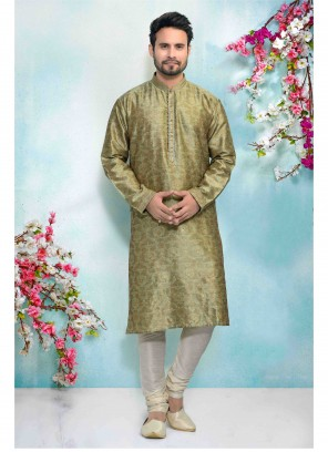 Green Jacquard Silk Sangeet Kurta Pyjama