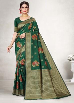 Green Jacquard Silk Weaving Saree