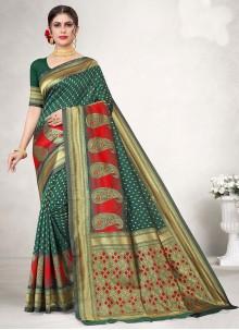 Green Jacquard Silk Traditional Designer Saree
