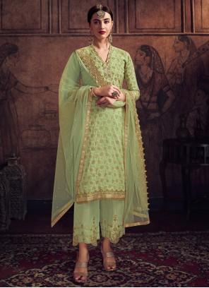 Green Jacquard Trendy Salwar Suit