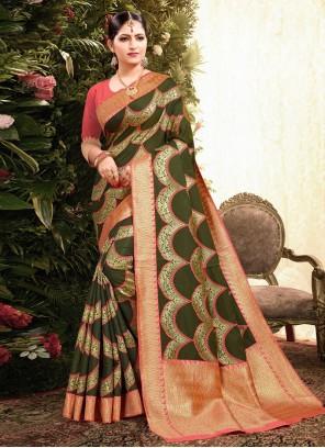 Green Jacquard Weaving Classic Designer Saree