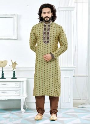 Green Jacquard Weaving Kurta Pyjama