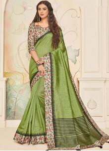 Green Jute Silk Abstract Print Traditional Designer Saree