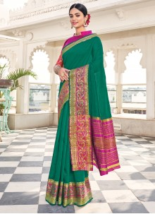 Green Khadi Silk Weaving Zari Saree