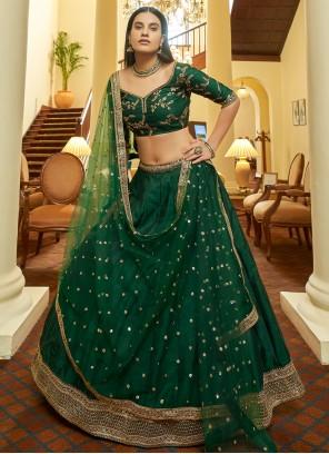 Green Lace Art Silk Bollywood Lehenga Choli