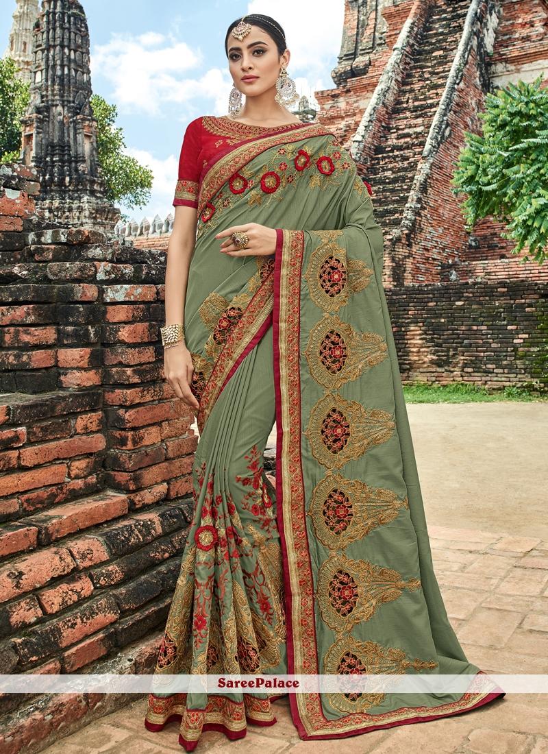 Green Lace Bridal Traditional Saree